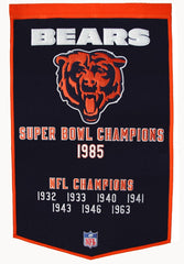 Chicago Bears Banner 24x36 Wool Dynasty - Winning Streak Sports