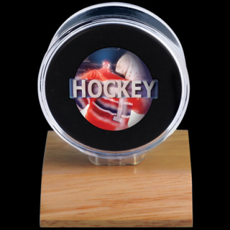 Hockey Puck Holder - Wood Base - Ultra Pro