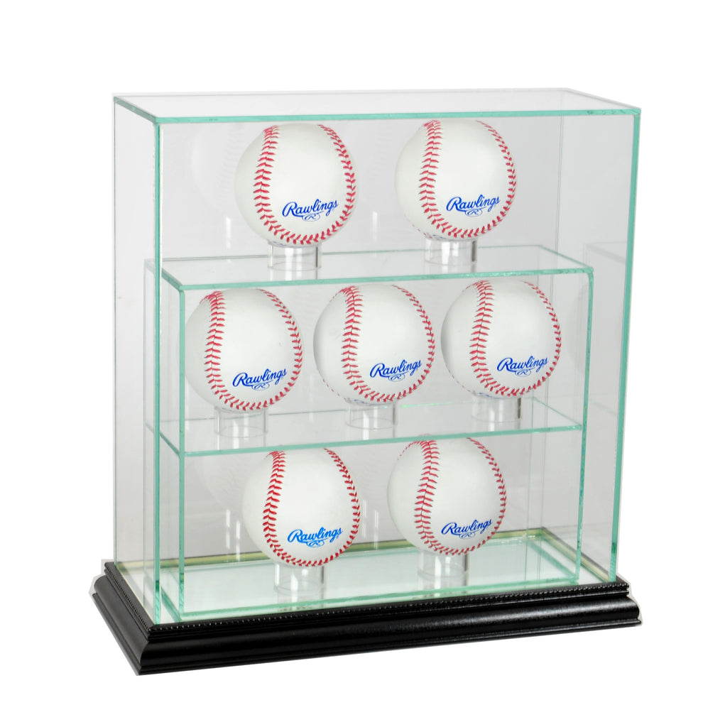 7 Upright Baseball Display Case with Black Moulding