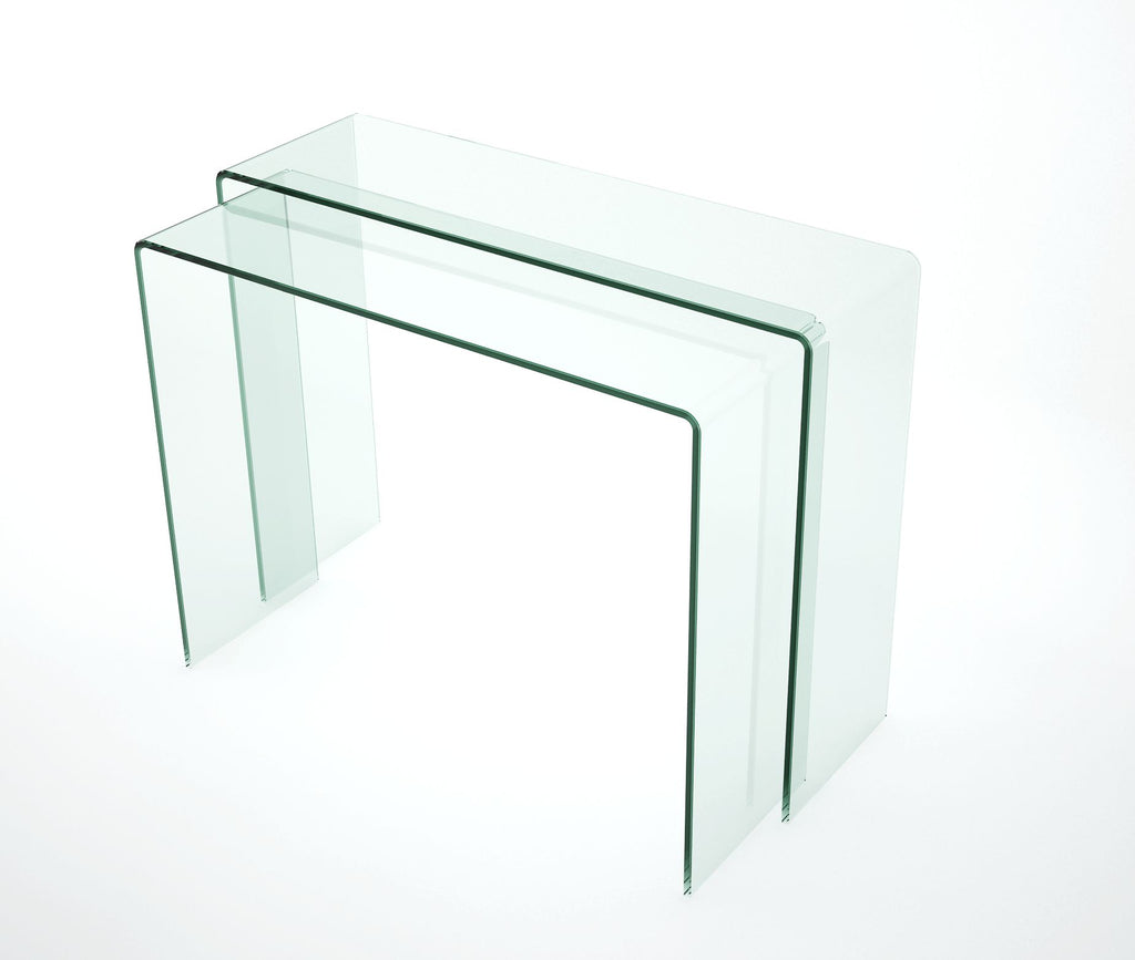 Chintaly - 6006 Series Nested Bent Glass Sofa Table Clear Glass
