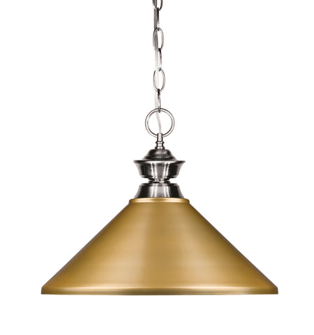 Z-Lite 100701BN-MSG Pendant Lights 1 Light Pendant with Brushed Nickel Steel Frame
