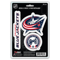 Columbus Blue Jackets Decal Die Cut Team 3 Pack - Team Promark
