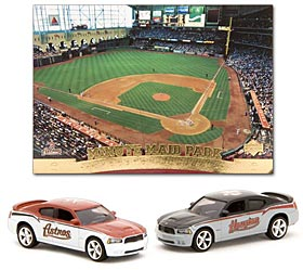 Houston Astros 2007 1:64 Home & Road Dodge Chargers w/Stadium Card - Upper Deck