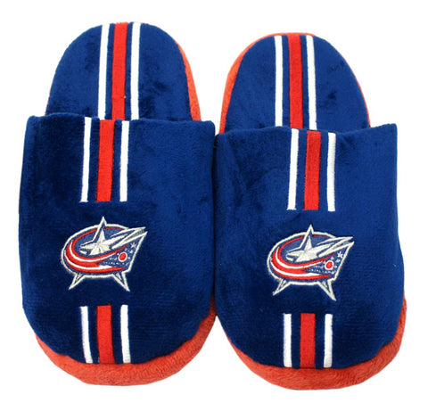Columbus Blue Jackets Slippers - Youth 8-16 Stripe - Forever Collectibles