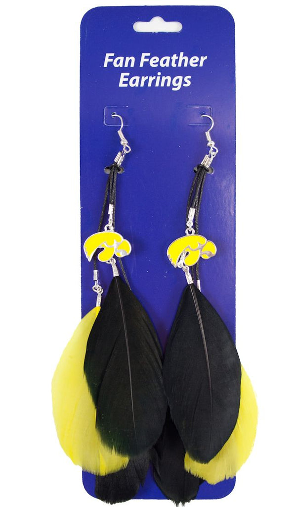 Iowa Hawkeyes Team Color Feather Earrings - Little Earth