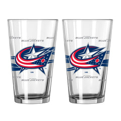 Columbus Blue Jackets Pint Satin Etch 2 Piece Set - Boelter Brands