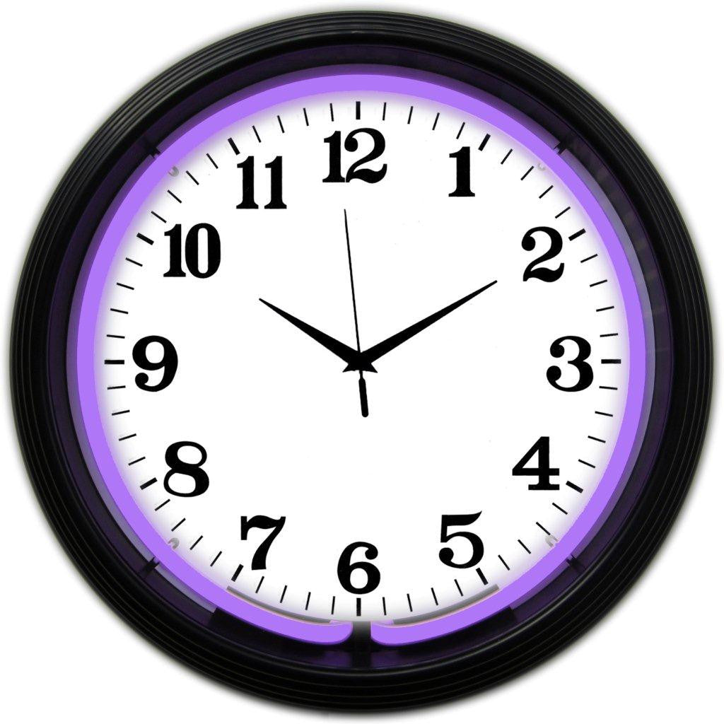 BLACK RIM PURPLE STANDARD NEON CLOCK