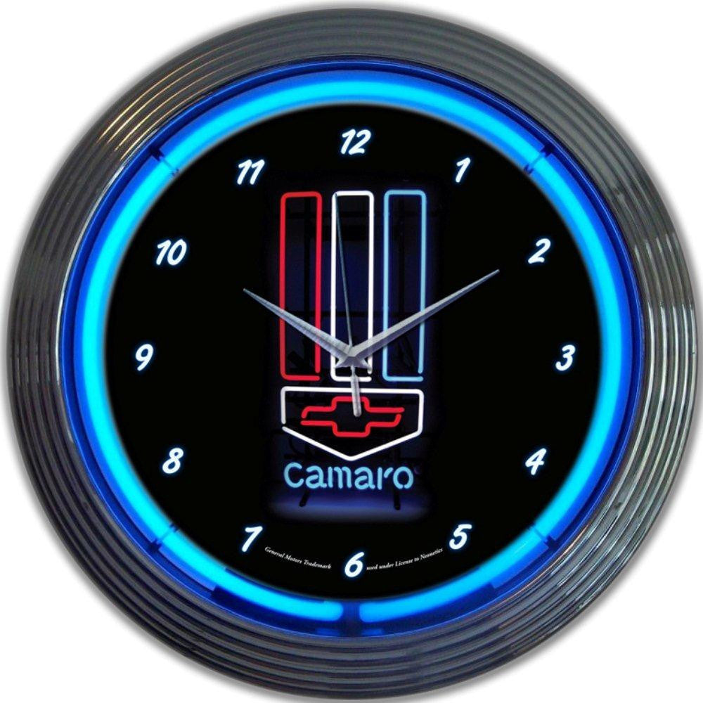 GM CAMARO RED, WHITE & BLUE NEON CLOCK