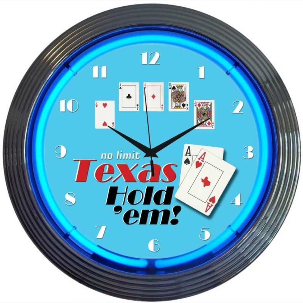 POKER TEXAS HOLD 'EM NEON CLOCK