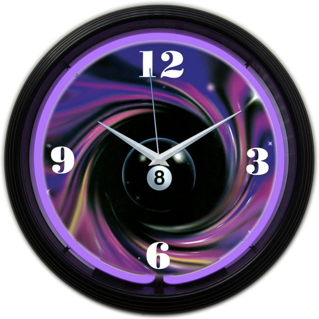 8 BALL SWIRL NEON CLOCK