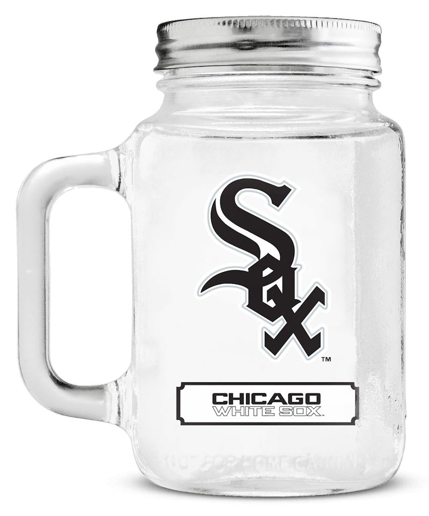 Chicago White Sox Mason Jar Glass With Lid - Duck House Sports