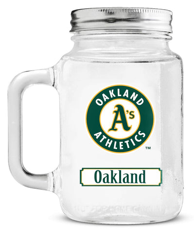 Oakland Athletics Mason Jar Glass With Lid - Duck House Sports