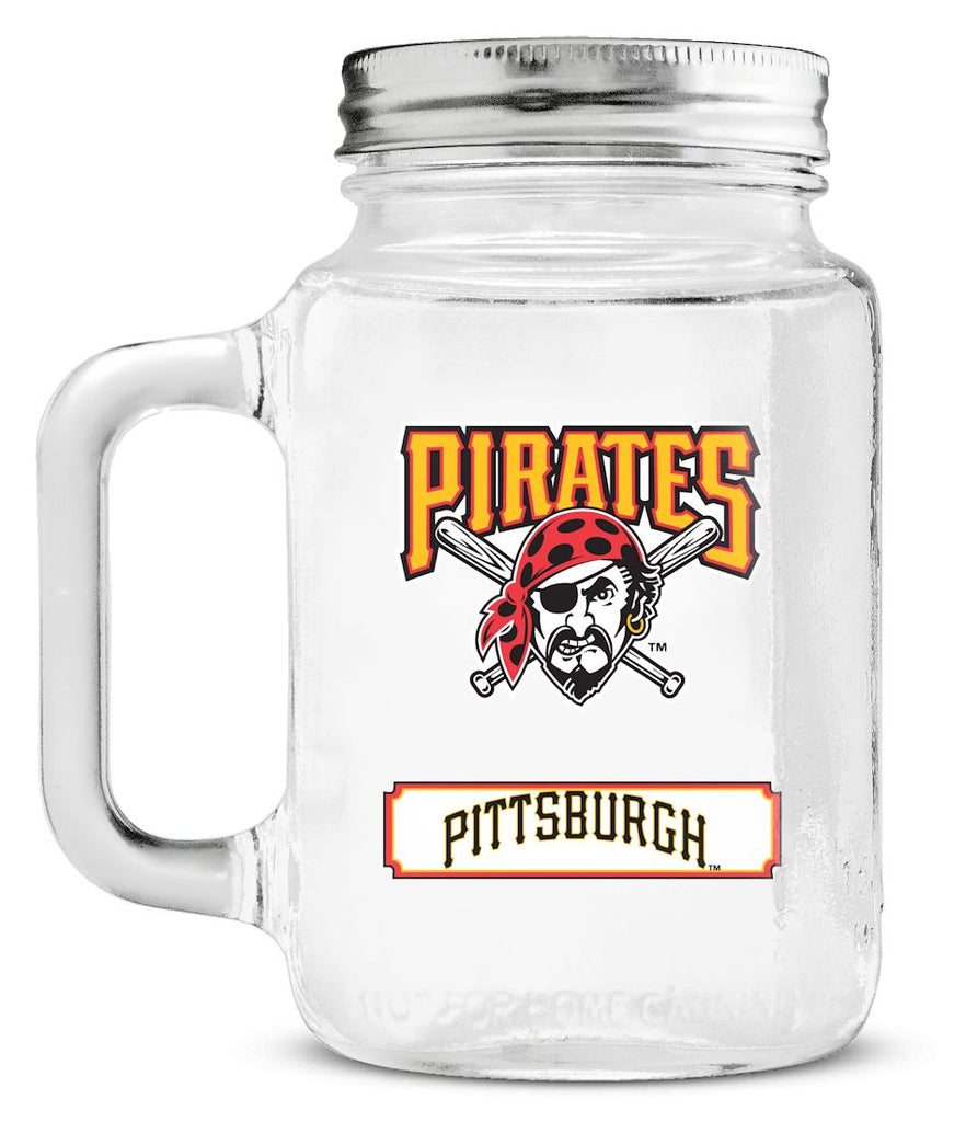 Pittsburgh Pirates Mason Jar Glass With Lid - Duck House Sports