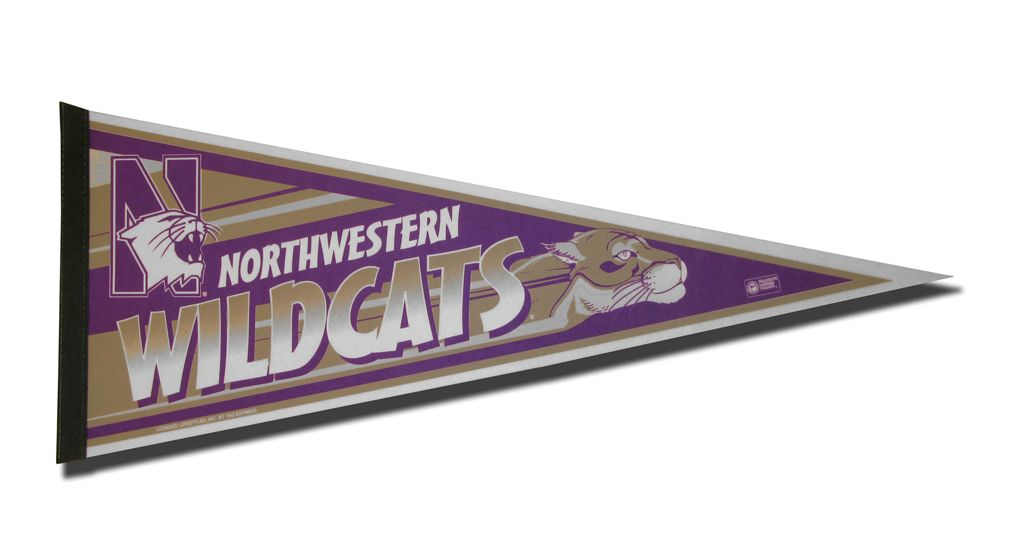 Northwestern Wildcats Pennant 12x30 Carded Rico - Rico Industries