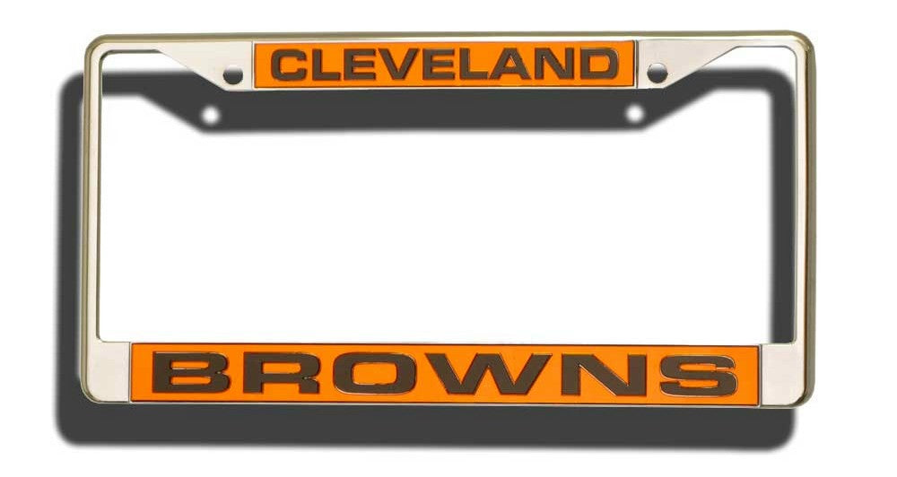 Cleveland Browns License Plate Frame Laser Cut Chrome - Rico Industries