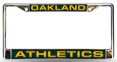Oakland Athletics License Plate Frame Laser Cut Chrome - Rico Industries