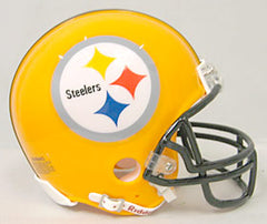 Pittsburgh Steelers 75th Anniversary Throwback Replica Mini Helmet w/ Z2B Face Mask - Riddell