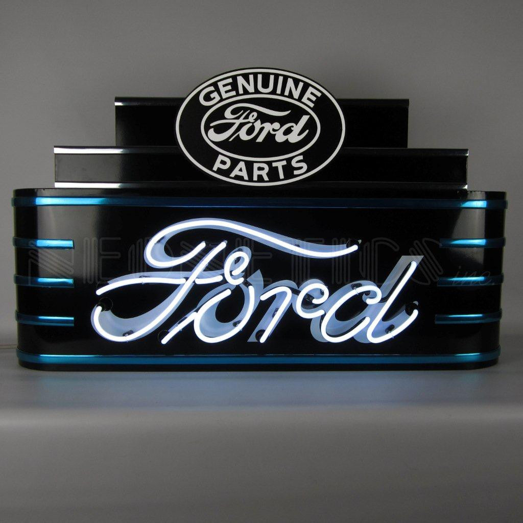 ART DECO MARQUEE FORD NEON SIGN IN STEEL CAN