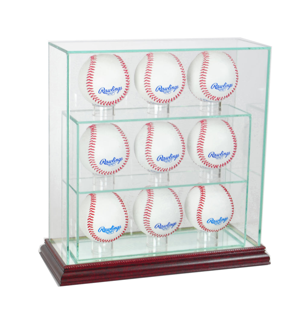9 Upright Baseball Display Case with Cherry Moulding
