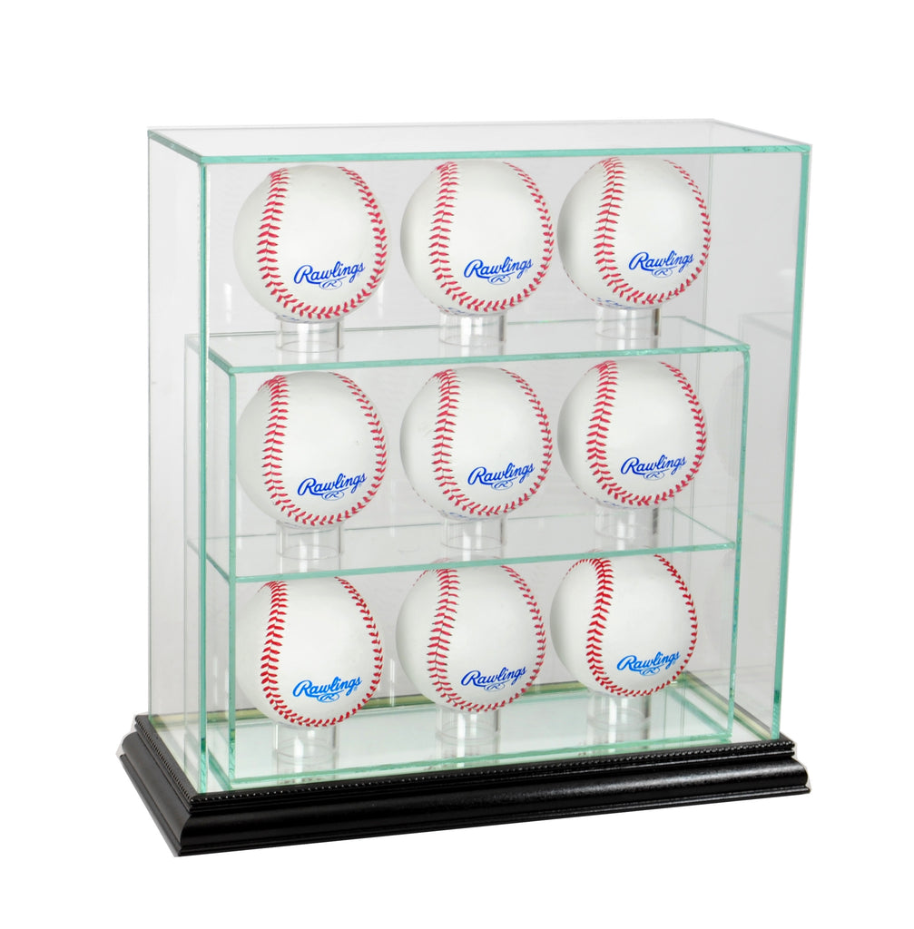 9 Upright Baseball Display Case with Black Moulding