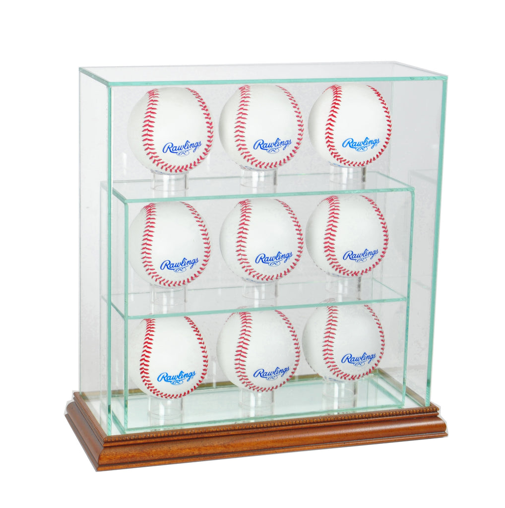 9 Upright Baseball Display Case with Walnut Moulding