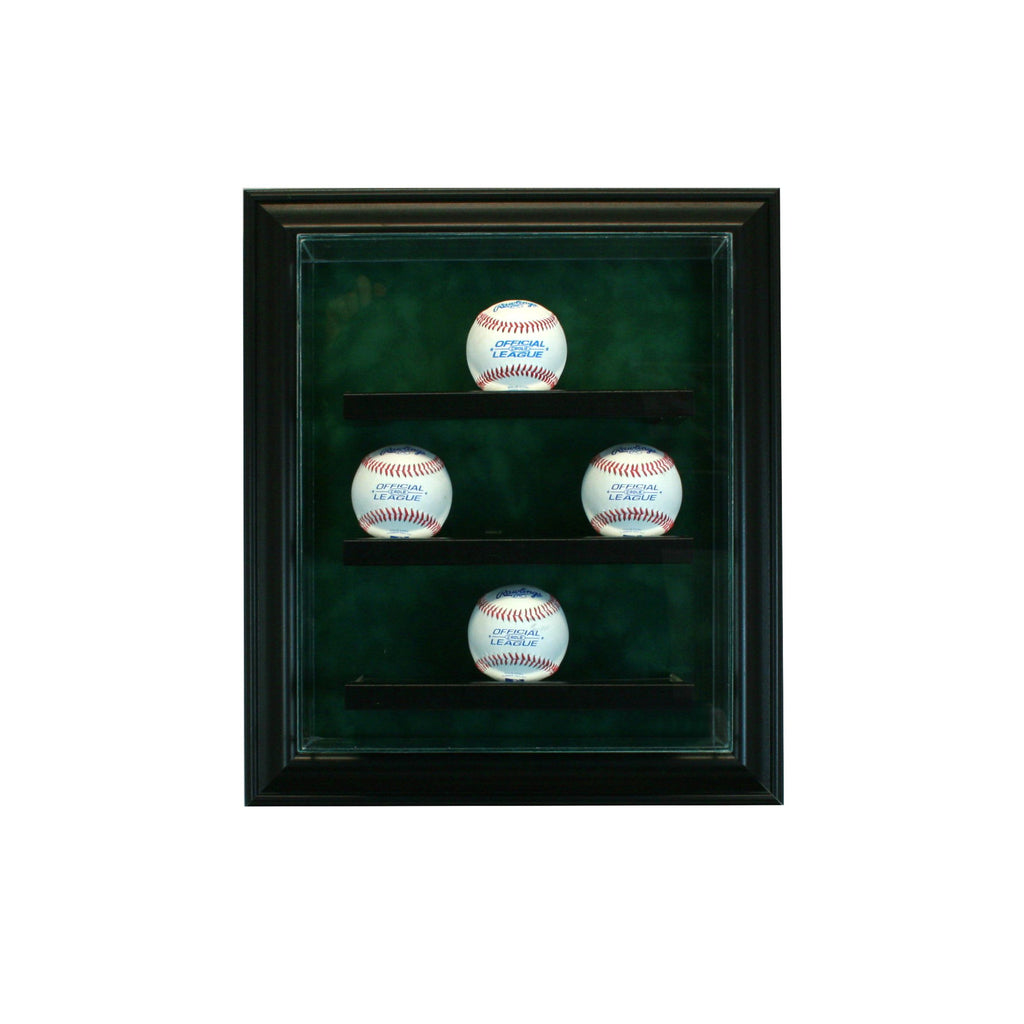 9 Baseball Cabinet Style Display Case with Black Moulding