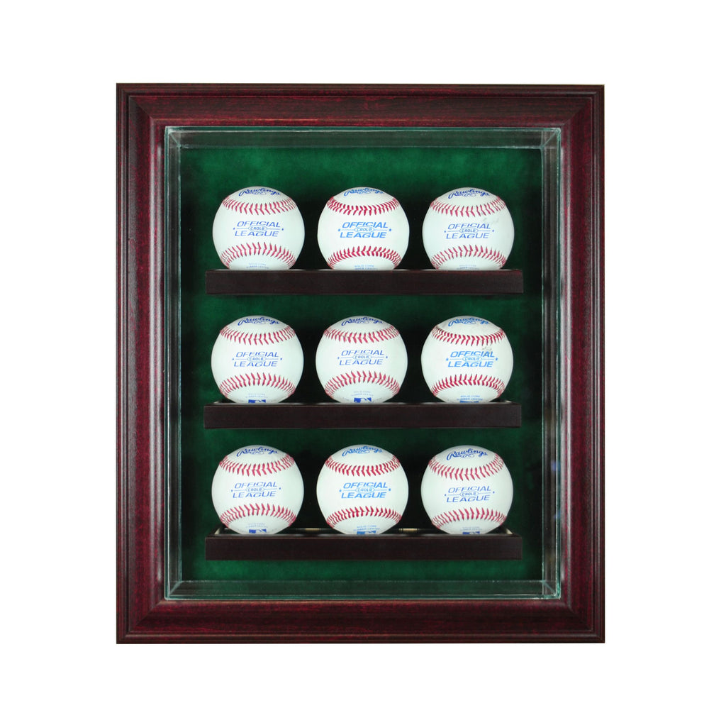 9 Baseball Cabinet Style Display Case with Cherry Moulding