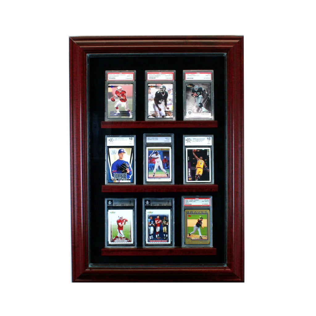 9 Graded Card Cabinet Style Display Case with Cherry Moulding