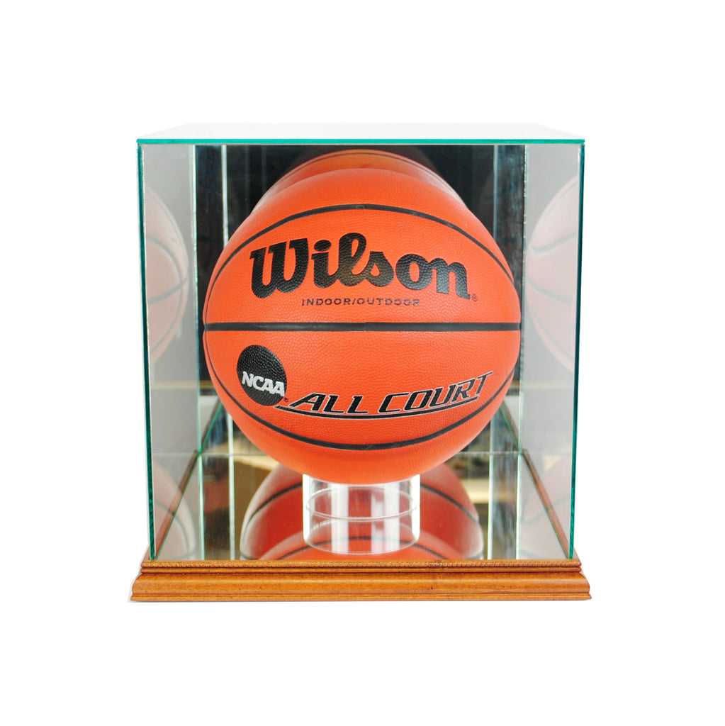 Rectangle Basketball Display Case with Walnut Moulding