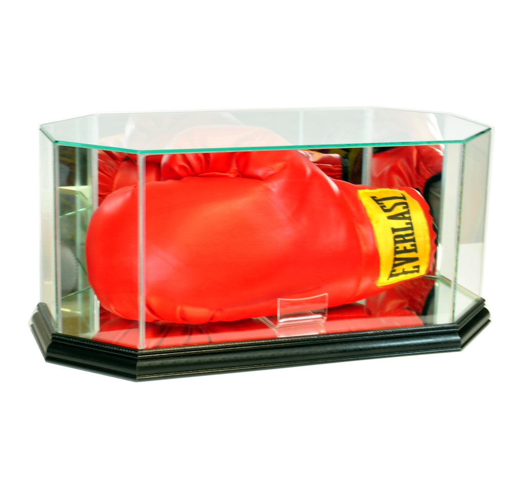 Octagon Glass Full Size Boxing Glove Display Case with Black Moulding