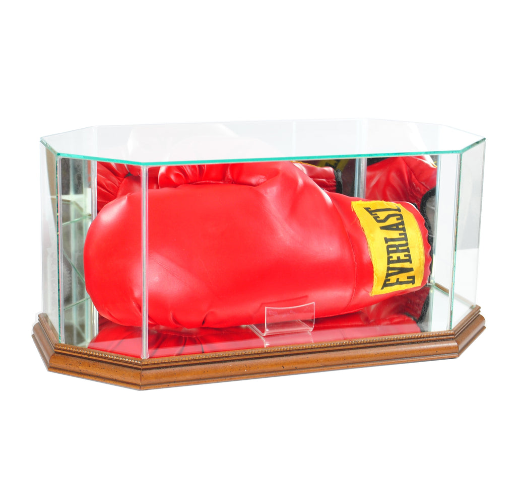 Octagon Glass Full Size Boxing Glove Display Case with Walnut Moulding