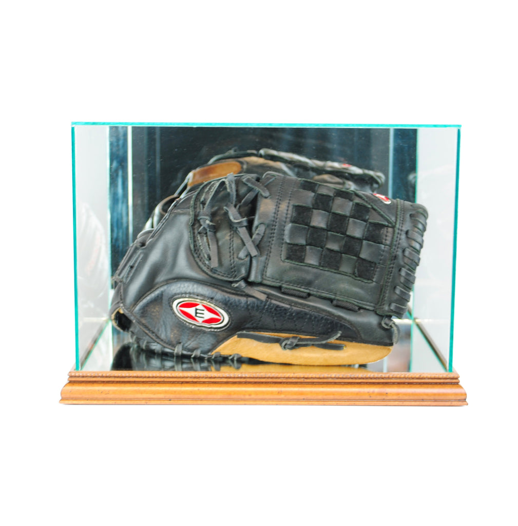 Rectangle Baseball Glove Display Case with Walnut Moulding