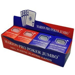 Box of 12 decks of 100% Plastic Marion Pro Poker Playing Cards - Jumbo index