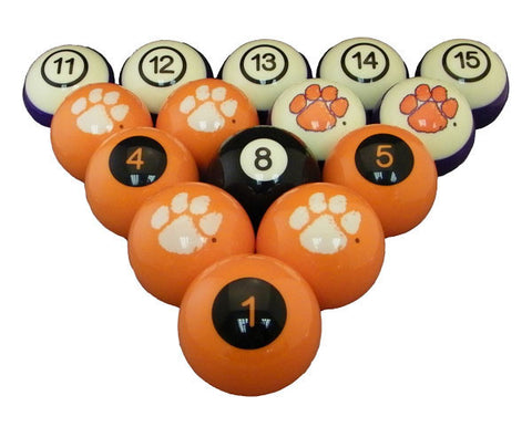 Clemson Billiard Ball Set - NUMBERED