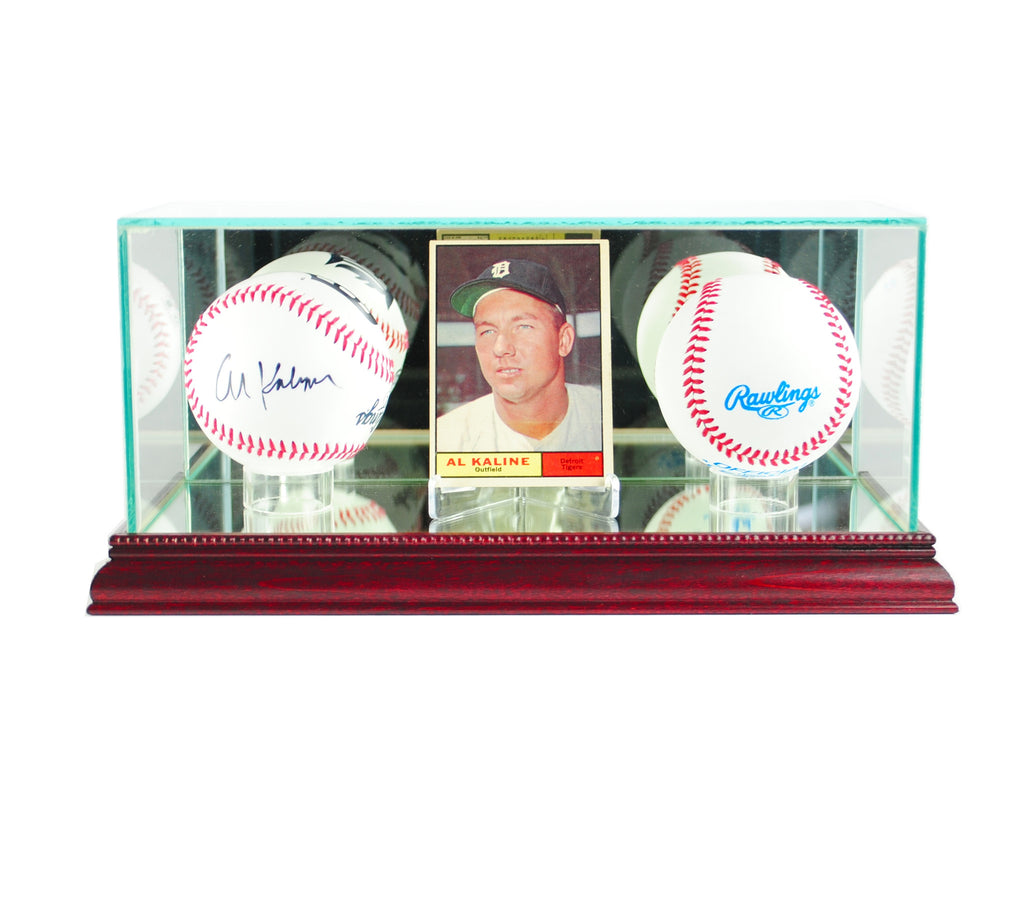 Card and Double Basball Display Case with Cherry Moulding