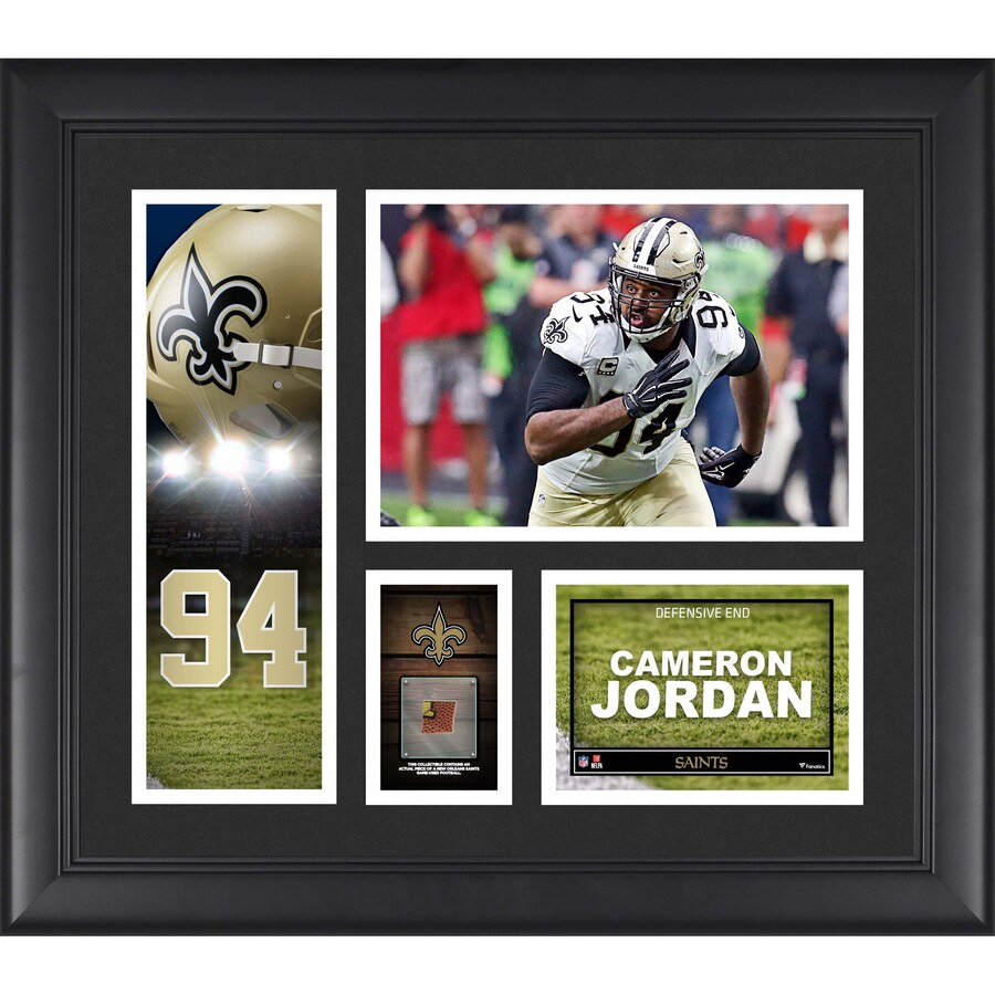 Cameron Jordan New Orleans Saints Framed 15'' x 17'' Player Collage with a Piece of Game-Used Football