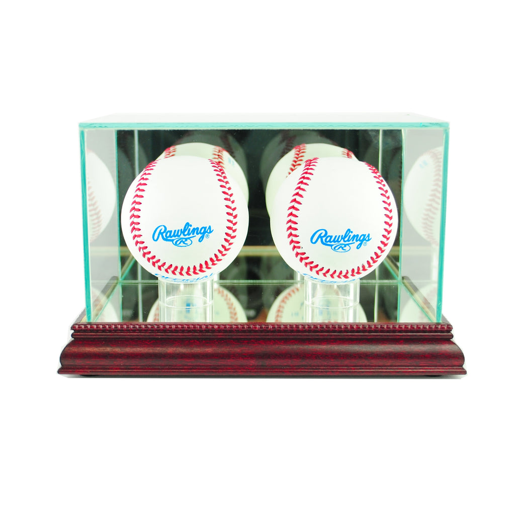 Double Baseball Display Case with Cherry Moulding