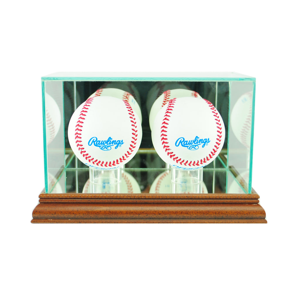 Double Baseball Display Case with Walnut Moulding