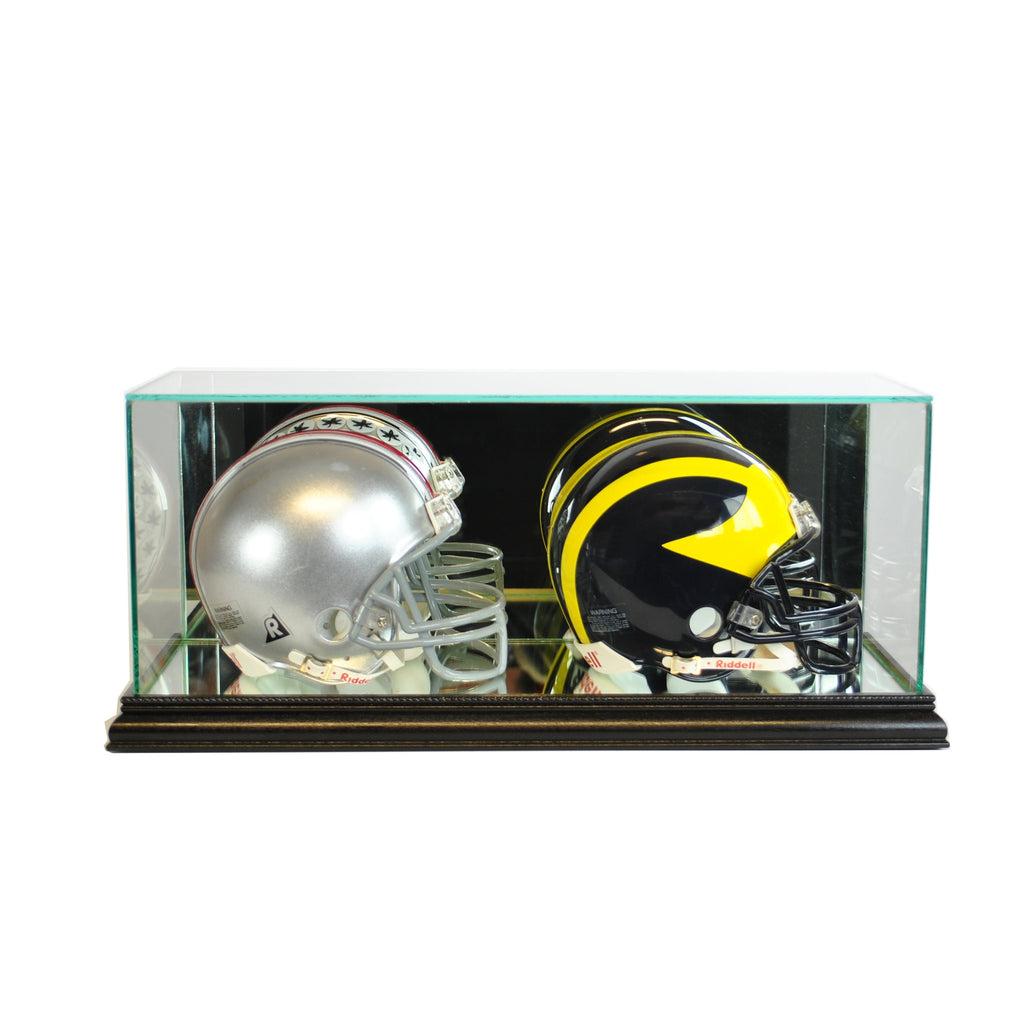 Double Mini Football Helmet Display Case with Black Moulding