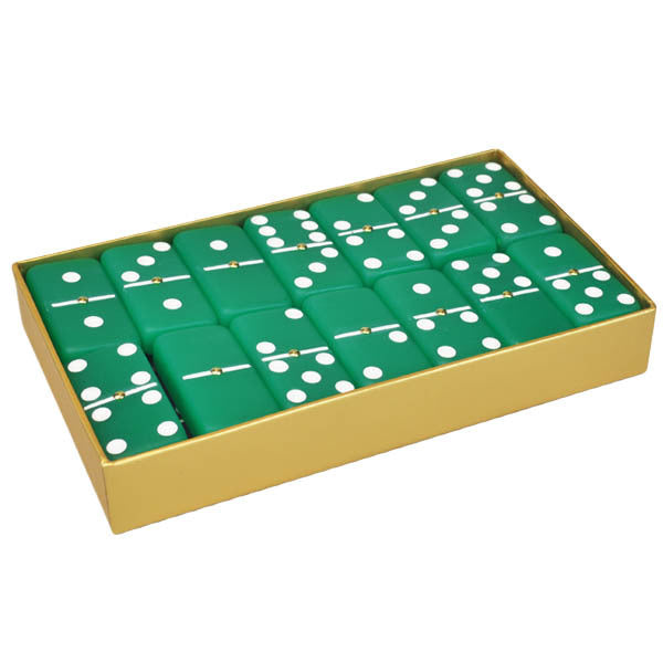 Domino Double Six Frosted Emerald Green in Rigid Gold Gift Box.