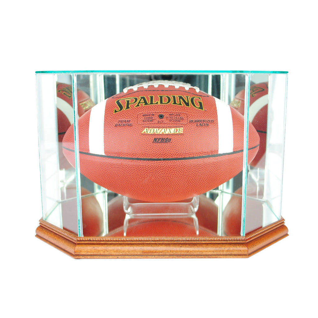 Octagon Football Display Case with Walnut Moulding