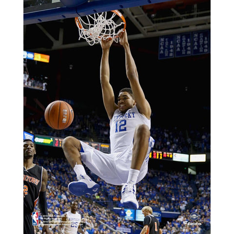 Karl Anthony-Towns Kentucky Wildcats Unsigned Vertical Rim Hang Photograph