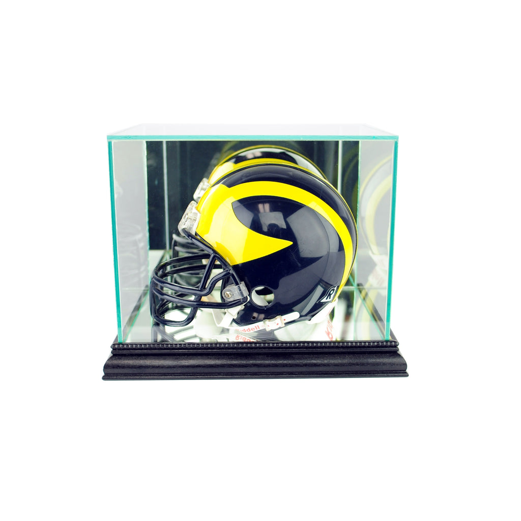 Mini Football Helmet Display Case with Black Moulding