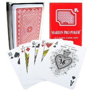 Marion Pro Regular index - 100% Red Plastic Poker Playing Cards