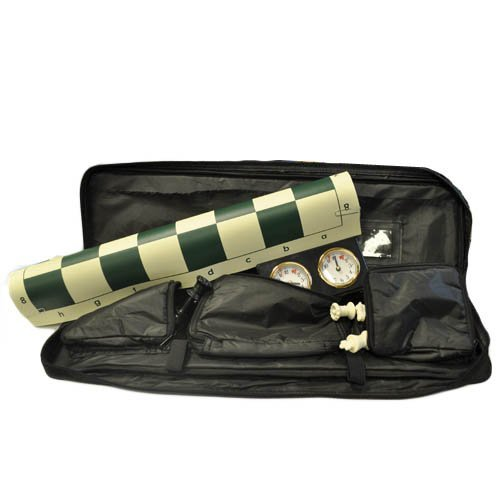 Marion's Quadruple Weighted Value Chess Set - Green Vinyl Roll-up Board - 4'' King - Black Canvas Bag - Analog Clock