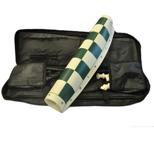Marion's Quadruple Weighted Value Chess Set - Green Vinyl Roll-up Board - 4'' King - Black Canvas Carrying Bag with Zippered Chess Pouches