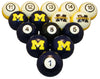 Michigan Billiard Ball Set - NUMBERED BLUE SOLID/MAIZE STRIPE MICHIGAN BLOCK M AND BLOCK M - UMIBBS300N