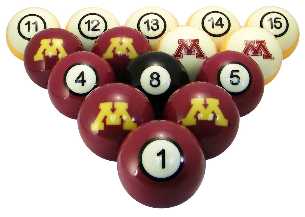 Minnesota Billiard Ball Set - NUMBERED MAROON SOLID/GOLD STRIPE OUTLINED BLOCK M AND SOLID BLOCK M - MINBBS100N