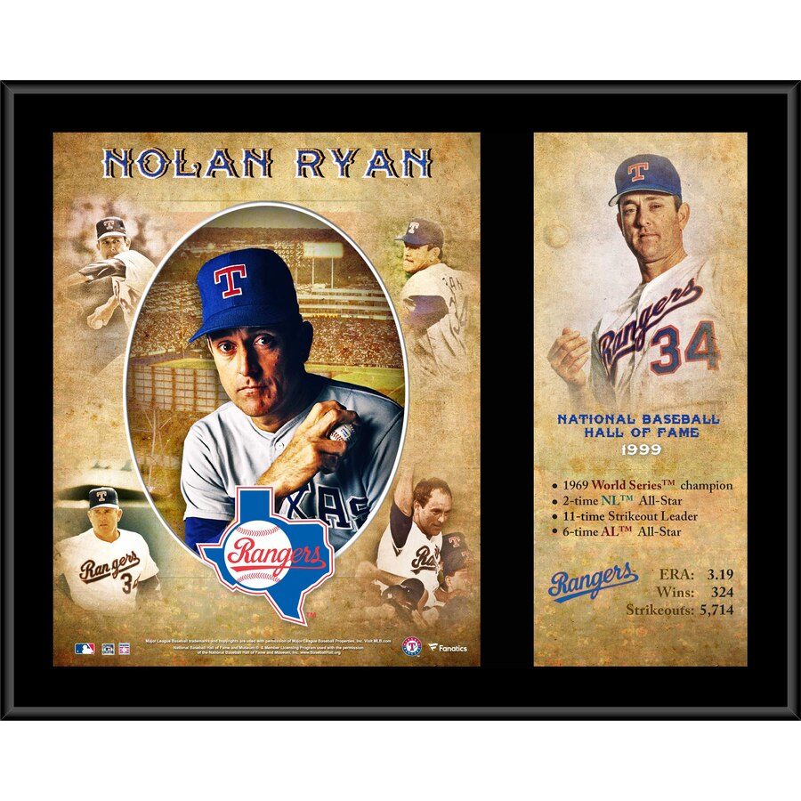 Nolan Ryan Texas Rangers 12'' x 15'' Hall of Fame Career Profile Sublimated Plaque