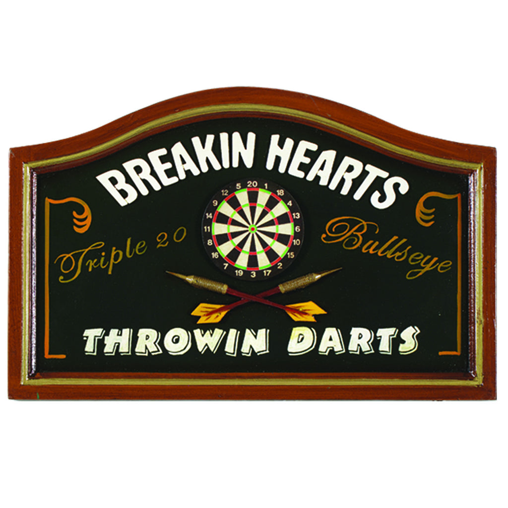 BREAKING HEARTS - THROWING DARTS - WALL SIGN